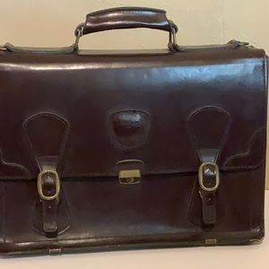 CECIL RHODES oxblood all leather briefcase